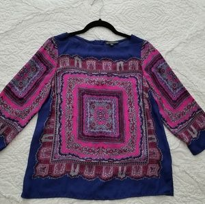 Bright Scarf Print 3/4 sleeve Blouse size M